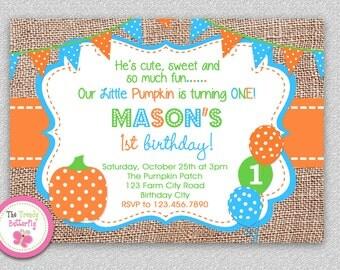 Fall Boys 1st Birthday Pumpkin Birthday Invitation , Polka Dot Orange Pumpkin 1st Birthday Party Invitation