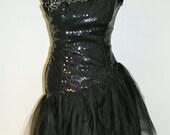 Vintage Prom, Cocktail Dress Black Sequins and Tulle