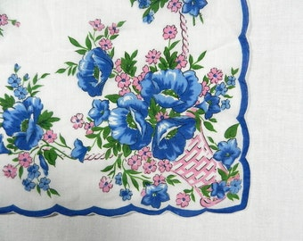 Handkerchief, White with Basket of Blue Poppies, Pink Flowers, Scalloped Border