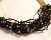 CARLISLE Designer Ethnic Necklace Metallic Baroque Pearl Black Seed Bead Bold Golden Cones Statement Authentic Vintage Jewelry artedellamoda