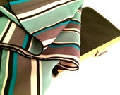 MAD MEN Scarf Square Stripes Polyester Head Retro Statement Stripped Green Blues Black White Grey Gray Unisex Authentic Vintage Accessory