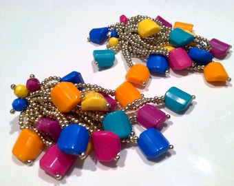 "CRAZY Runway Bold Design COLORFUL Plastic Clip on Earrings 80s Authentic Vintage Jewelry artedellamoda ""as is"""