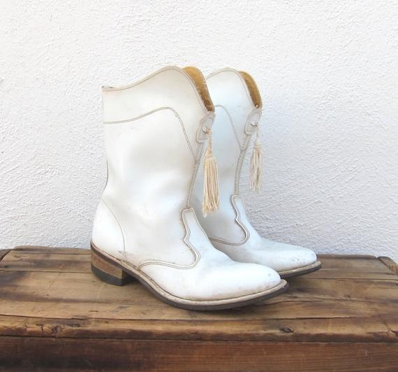 Vintage White Leather Tassel Drill Majorette Brigade Boots