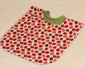 Large Pull Over Bib - Red Pink and Green Strawberries