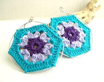 Granny Hexagon Crochet Earrings - Teal Lavender Purple earrings - Retro Fashion colorful earrings - Vintage lace earrings - Lace earrings
