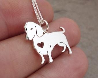 Daschund Wiener Doggie Sterling Silver Handmade Pendant