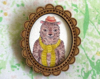 Bear in a Scarf Wooden Illustrated Frame Brooch