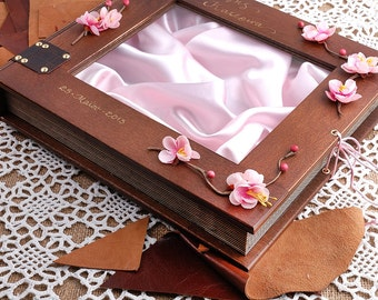 Wedding Stefana Case - Brown with  pink almond flowers