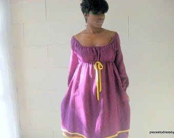 Amethyst Linen Dress, Lightweight, Linen, Peasant Dress, Long Sleeves, Elasticized, Contrast Trim, Cool, Uneven Hemline, Gathered, Empire