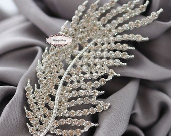 Rhinestone Brooch Pin Supply Embellishment Feather Hair Comb Tiara Shoe Clip Wedding Bouquet Brooch Cake Decoration RD314