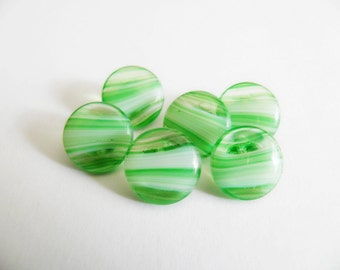 Vintage Lime Green Striped Glass Buttons