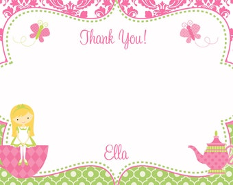 Tea party Birthday Party Thank you note --  tea party princess  thank you --  you print or I print - blonde or brunette