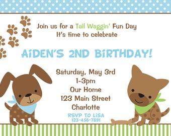 Puppy Birthday Party Invitation -- puppy  birthday party -- puppy invitation Dog party invitation