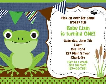 Frog Birthday Party Invitation Frog first Birthday Invitation