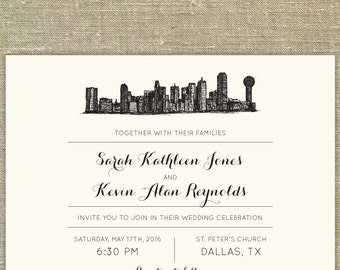 Dallas Texas Skyline Destination Wedding invitation suite; SAMPLE ONLY