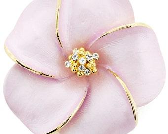Pink Hawaiian Plumeria Swarovski Crystal Flower pin brooch and Pendant  1010881