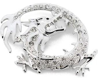 Crystal Silver Dragon Pin Brooch 1003582