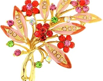 Multicolor Flower Crystal Pin Brooch 1012731