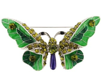 Green Enamel Butterfly Pin Brooch 1002671