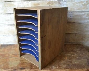 Vintage Primitive Wooden Slot Divider Box or Envelope Holder Handmade