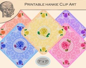 Printable Digital Hankie Handkerchiefs Clip Art Graphics Flower Graphics Floral Wedding Clipart Instant Download Printable Art