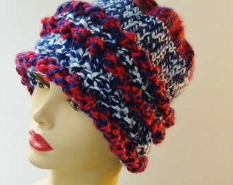 Red White Blue Chunky Hat