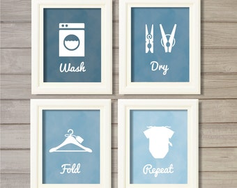 Laundry Room Wall Art Printable - 8x10- Blue Faux Watercolor Instant Download Print Poster Washing Room Home Decor Clothes Pegs