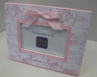 Toile and Gingham Baby Girl Curly Pink Personalized 4x6 Frame