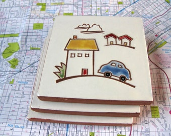 """Blue Car and Yellow House with Red Roof handmade ceramic tile, coaster or wall hanging 4"""" x 4"""""""