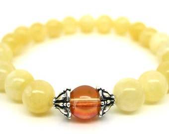 Wrist Mala Honey Jade, Mystic Quartz - Spiritual Jewellery