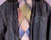 Chunky Earth Tone Entrelac Scarf for Men or Women in Brown, Gray, and Slate