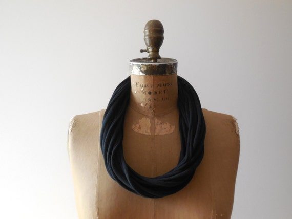 Womens T-Shirt Necklace Womens Scarves Black Recycled T-Shirt Scarf Black Tee Necklace Upcycled Necklace Cotton Necklace Women Gifts ohzie