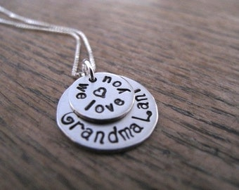 Listing for a Nickel Silver Two-Stack Grandma Brag Keepsake Necklace