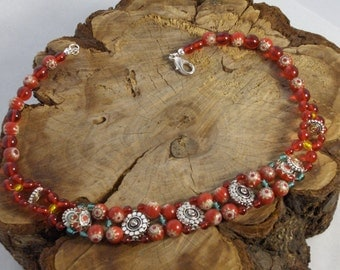 Red Red Bohemian Glass Necklace