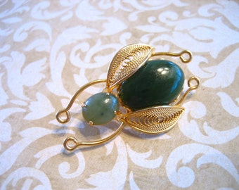 Vintage Jade Bug Insect Pin or Brooch