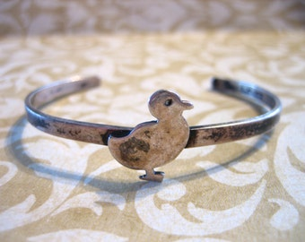 Vintage Sterling Silver Leonore Doskow Baby or Child's Bracelet w DUCK 1981