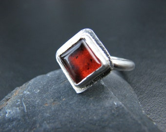 Amber Ring Size 8 Sterling Silver Baltic Amber Cognac Colored Amber Genuine Ancient Amber Ring