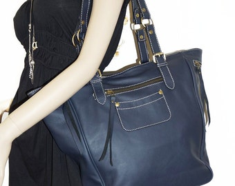 Genuine Leather tote bag leather handbag leather shopper tote Alissa in navy blue