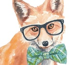 Fox Watercolor PRINT - 5x7 PRINT, Fox Painting, Hipster Glasses, Open Edition