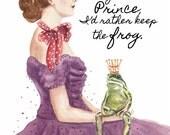 Woman Watercolor PRINT - 11x14 Print, Frog Watercolour, Frog and Princess, Portrait Painting