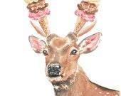 Deer Watercolor Painting PRINT - 11x14 Illustration Print, Ice Cream Cone, Food Watercolour, Kitchen Art