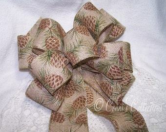 Pine Cone Ribbon Bow Brown Burlap Ribbon Great for Wreath or Holiday Christmas Rustic Decoration Gift Country Wedding Pew Bow