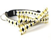 2 colors to choose from, Dog Cat Bow tie collar Argyle Yellow or Baby Blue, made in USA san francisco, argyle pet collar