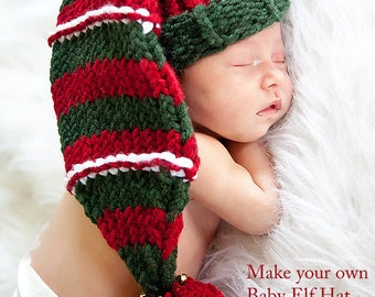 Knitted Knifty Knitter baby hat loom pattern Christmas elf