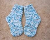 Hand Knit SOFT Wool Cotton Socks Blue multi Child size 5