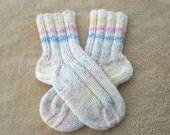 SUNSHINE: Hand Knit SOFT Wool Acrylic Socks in White multi size 6