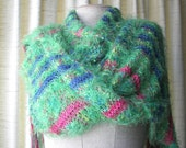 CANDY LAND Luxurious Hand Knit SOFT Scarf Wrap Shawl Cowl in colorful nylon bamboo wool blend yarn / Thoughtful Gift / Luxurious Gift