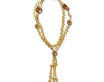 Steampunk Antique Vintage Edwardian Crystal Amber Glass Beads Bead Beaded Necklace Gothic Flapper Goth Steam Punk
