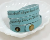 Trust in the Lord Proverbs 3:5-6 --- engraved leather wrap cuff bracelet