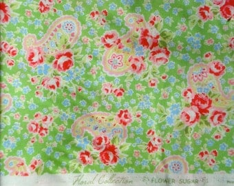 Lecien Flower Sugar 2 roses & paisley green 2010 FQ or more